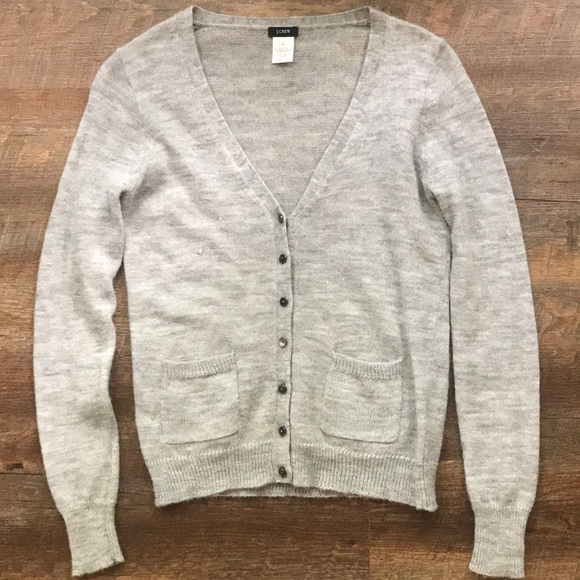 J. Crew Sweaters - J CREW GREY WOOL CARDIGAN WITH BUTTONS AND POCKETS